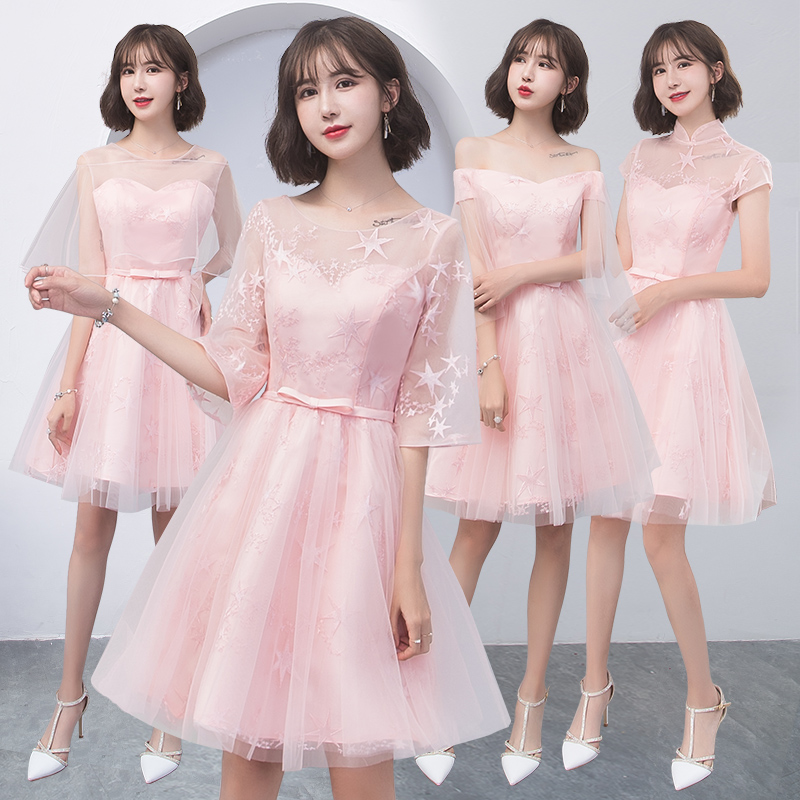 2018new stock plus size women pregnant wedding party   Bridesmaid     Dresses   backless lace sexy romantic A line pink   dresses   abe179