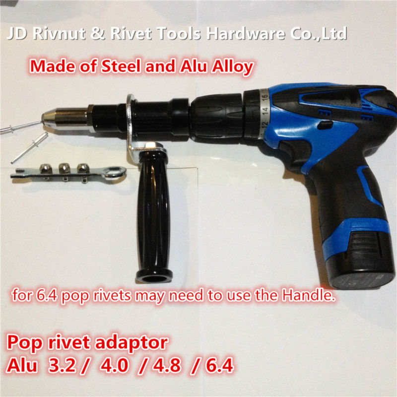 6.4mm POP Rivet tool  CORDLESS pop  Rivet DRILL  3.2- 6.4 electric riveter gun blind rivet gun pop rivet tool riveter gun with 60pcs steel blind rivets repair tools kit heavy duty hand tool set for metal woodworking