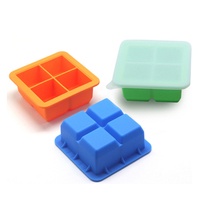 ITECHOR 4 Holes Big Ice Cube Mold DIY Silicone Ice Cube Tray With Cover Home Party