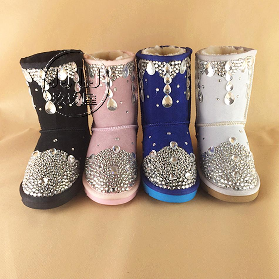 74cd98b242a Top Winter Snow Inlay Rhinestone Women Shoes Bling Bling Crystal Diamond  Cowhide Leather Girls Snow Fur Boots Pink Half Shoes