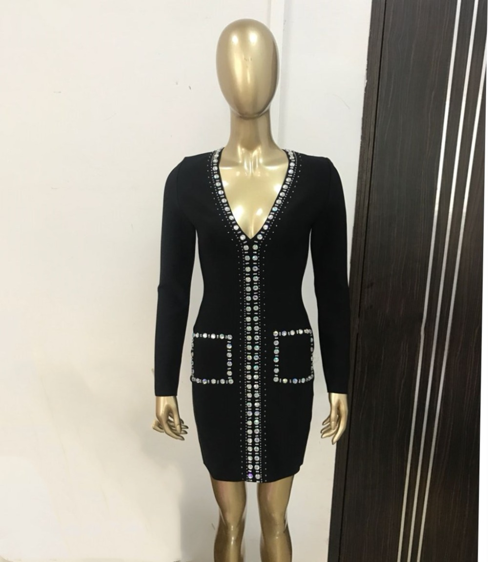 V neck fashion New Style Sexy Women Mini Bandage Dress Rivet Diamonds Night Club celebrity body con Party dresses wholesale in Dresses from Women 39 s Clothing