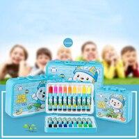 Truecolor crianças caneta aquarela 24 cor 36 cor portátil cassete selo paintbrush adorável crianças conjunto