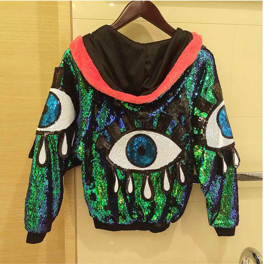 Women stage performance jacket sequined big eyes sexy girl for Hip hop outfit damen