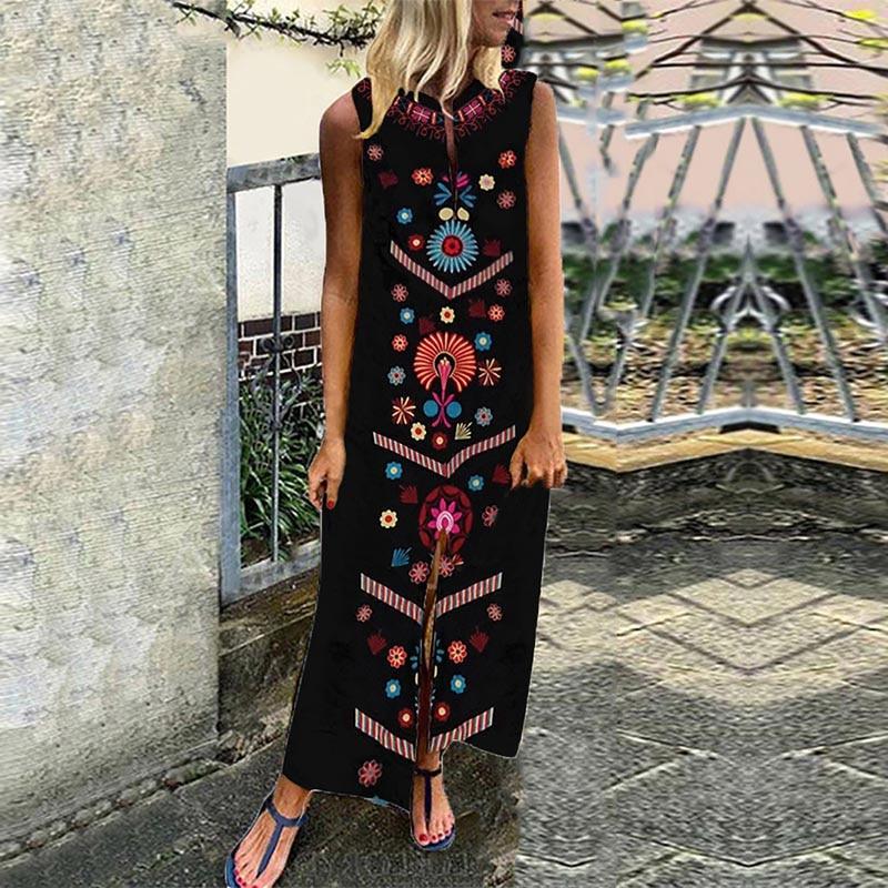 Women Sleeveless Bohemia Long Maxi Dress Summer Beach Party Sundress Plus OPK in Dresses from Women 39 s Clothing