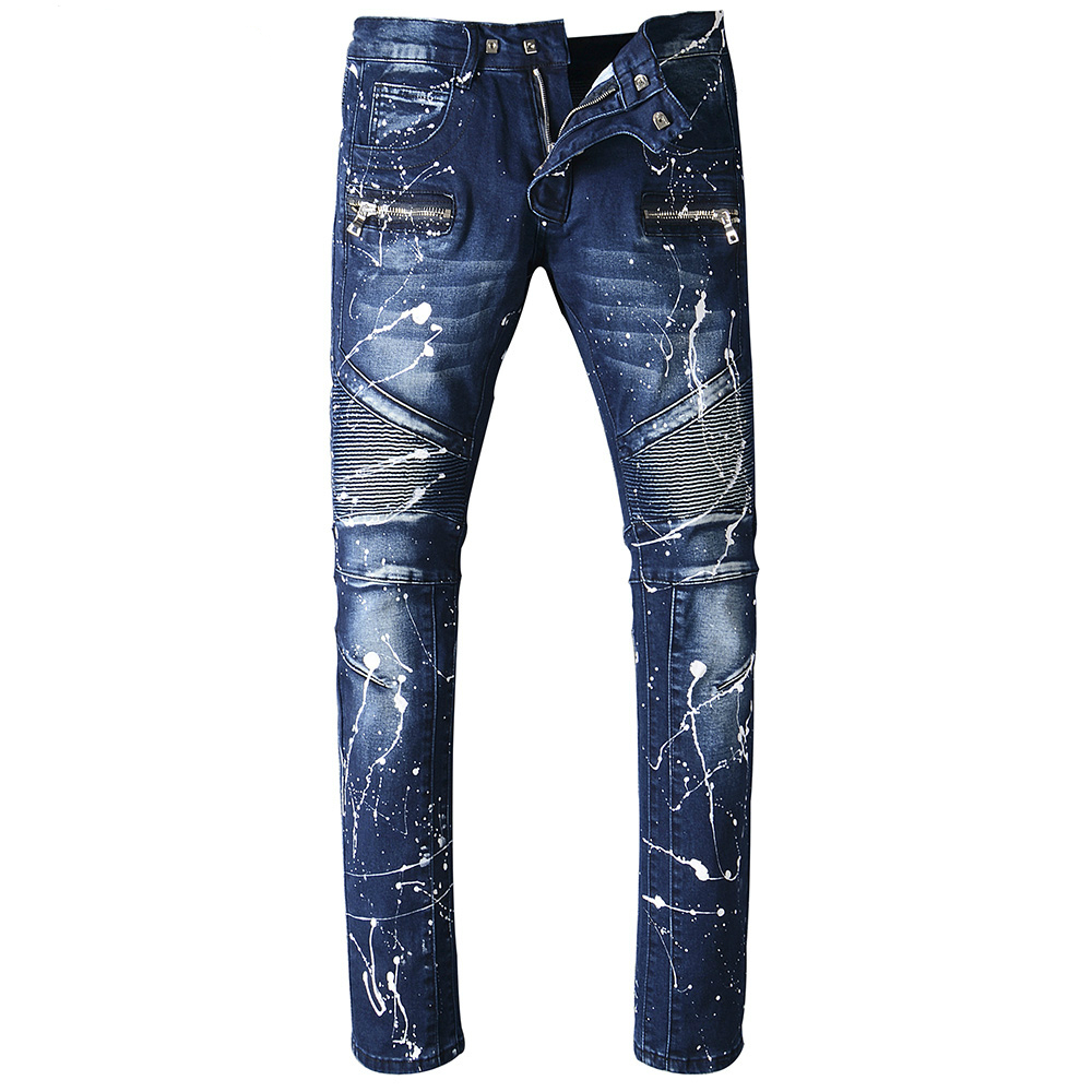 2017 new High Quality Jeans Men Fashion Casual Men's Classic Jeans Straight Full Length Biker Hip Hop Zipper Pocket Skinny Jeans new fashio hip hop men jeans high street fog fear of god knee hole destroy elastic feet slim jeans gd kanye west skinny trousers