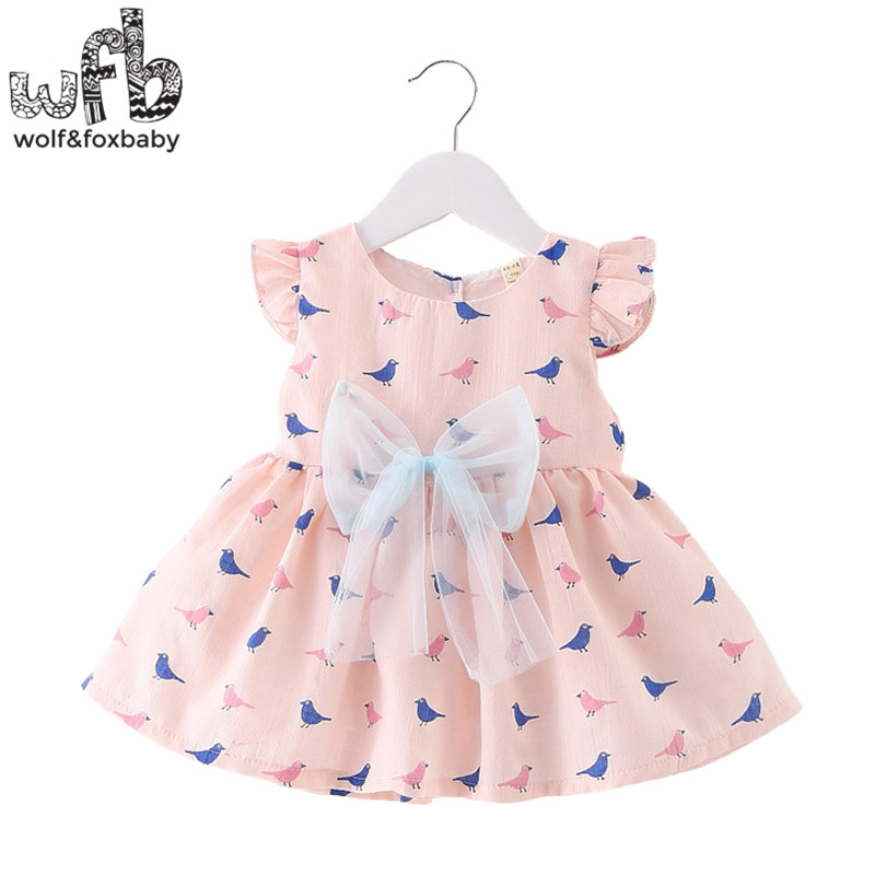 Retail 0-3 years sleeveless girl dress children summer round neck prints bird and bowknot