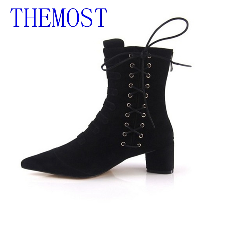 New Brand Genuine leather Women's shoes Thick with Martin Boots Fashion Pointed Short boots Gladiator black red beige size 34-43 100% genuine leather new arrival 2014 brand fashion boots vintage platform shoes short boots