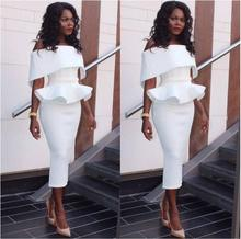 купить Sexy Off Shoulder Ruffle Midi Dress 2019 New Women Sexy Slim Pencil Bodycon  Party Dress White Black Pink Dress Vestidos по цене 769.2 рублей