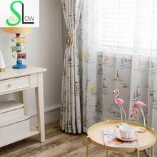 Slow Soul Set Sail Modern Cartoon Curtain Curtains Tulle For Living Room Bedroom Kitchen Children Ready Made And French Window(China)