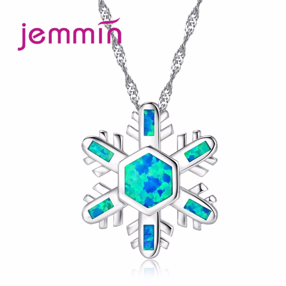 New Gorgeous Blue Fire Opal Snowflake Shape Pretty Flower 925 Silver Necklace Pendant for Wedding Bridal Women Gifts