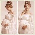 2017 Royal Style Белый Материнства Кружева Dress Беременных Фотографии Реквизит Беременности материнства фотосессии долго dress Рубашки