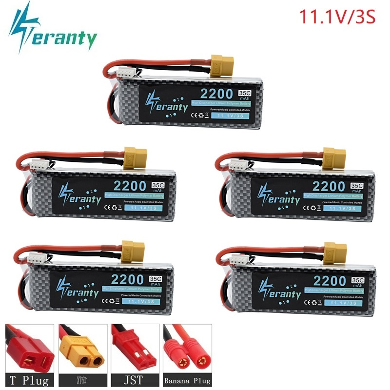 5PCS/lot 3S 11.1v 2200mAh 35C LiPo Battery XT60/T/JST/EC5 Plug For RC Car Airplane Helicopter 11.1v Rechargeable Lipo Battery 3s