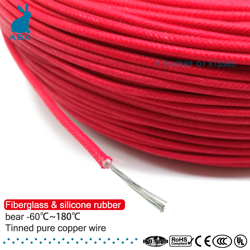 50m 100m 20AWG Fiberglass silicone Rubber wire Multiple strands of pure copper wire Household Power cable