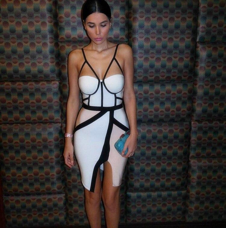 rayon spaghetti strap white and nude patchwork 2018 new fashion sexy women asymmetrical hl bodycon bandage