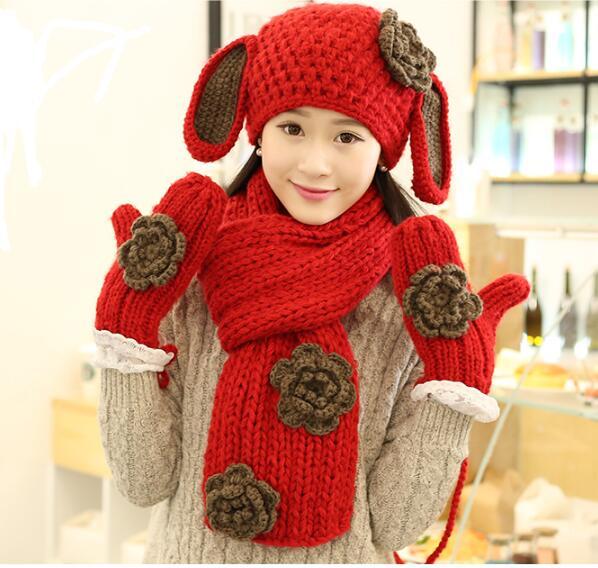 Woman Hat Scarf Girl With Christmas Birthday Present Cute Rabbit Ears Three-piece
