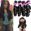 Peruvian Loose Wave With 360 Lace Frontal With Bundle Loose Wave 360 Closure With 3 Bundles 360 Bundle Loose Wave Human Hair
