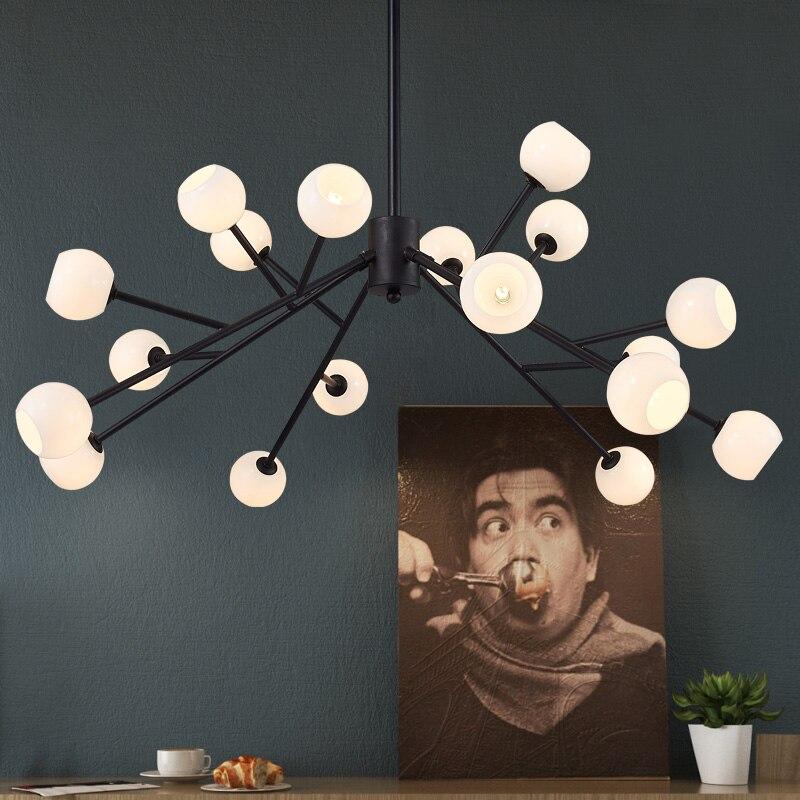 Nordic pastoral small restaurant bar living room pendant light modern glass ball branch spider clothing store