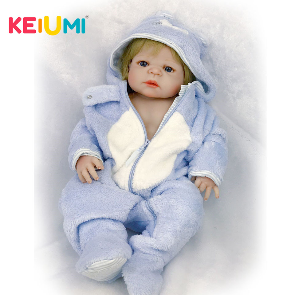 KEIUMI 57 cm Lifelike Reborn Babies Full Silicone Body Real Baby Doll For Boy Toddler Toys with Gold Hair kids Xmas Gifts keiumi realistic silicone reborn babies doll lifelike 22 princess baby girl doll gold hair bebe reborn toys for kids gifts