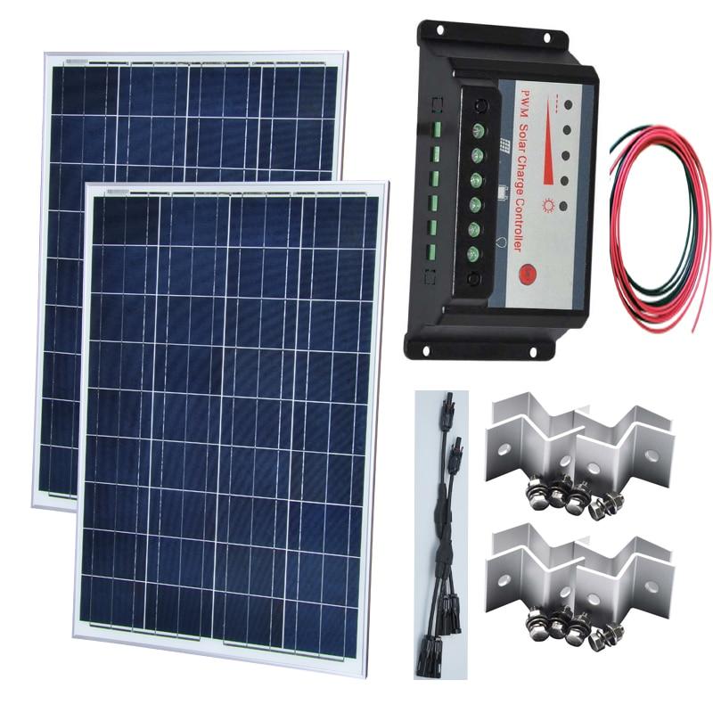 TUV CE Solar Kit Zonnepaneel 100W 12v 2 Pcs Placa 200w 24v Bateria Charge Controller 12v/24v 20A In 1 Connector