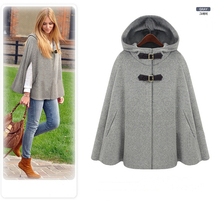 2017 Autumn Winter Gossip Girl Grey Black Hooded Cape Coat Nibbuns Women Cloak Casacos Femininos manteau femme(China)