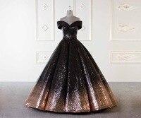 Роскошные 2018 Новый Градиент блестками вечернее платье бальное платье черный и золотой с плеча Узелок Для женщин платья