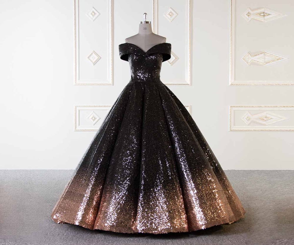 Luxury 2018 New Gradient Sequins Evening Dress Ball Gown