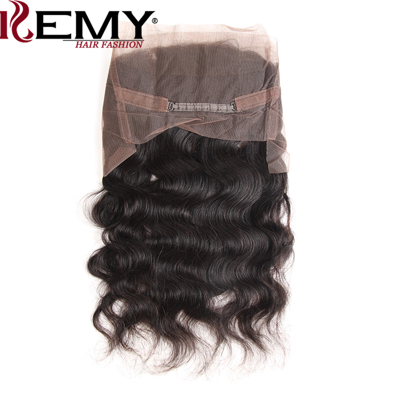 KEMY HAIR FASHION 360 Lace Frontal Closure With Baby Hair Body Wave 22*4*2 Brazilian Frontal Natural Color 100% Remy Human Hair
