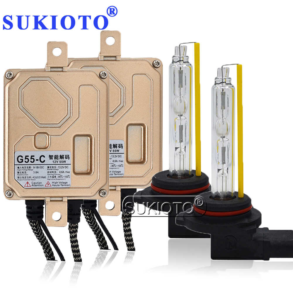 SUKIOTO Top Quality 55W Ballast CANBUS Kit hir2 xenon H7 9012 bixenon Car HID headlight kit digital car styling xenon Ballast
