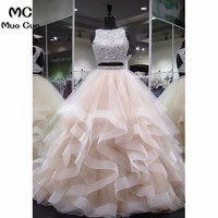2018 Ball Gown Two Pieces Gown Prom Dresses Long Floor Length Ruffles Champagne Formal Women's Evening Dresses Prom Dress