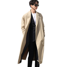Джентльмен британский стиль новая осень мужчина пальто свободные длинные пальто мужской моды весна случайный мыс плащ верхняя одежда ремень A49