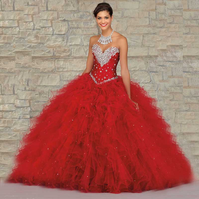 69a2099f9 2016 Sensual Looking Red Blue Organza Ball Gown Long Quinceanera Dresses  For Girls 15 Years Party Gowns Vestidos De 15 Anos