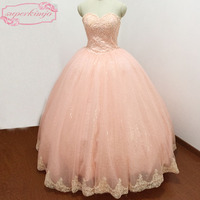 Actual Evening Dresses Sweetheart Neckline Lace Appliques Beading Pearls Ball Gown Bling Bling Coral Prom Dresses Real