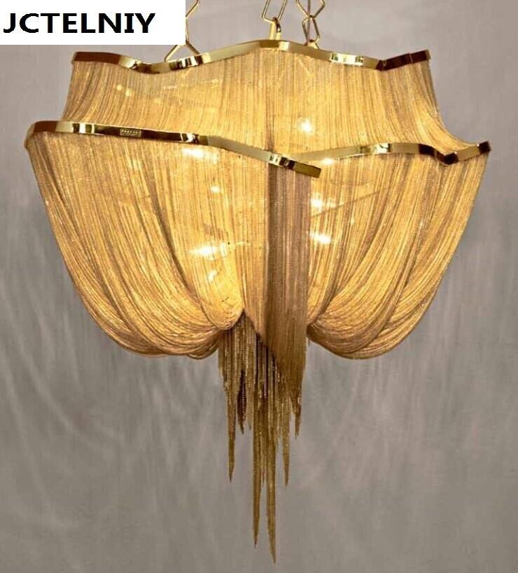novo luxo grande cadeia de borla pingente de lâmpada led goldr