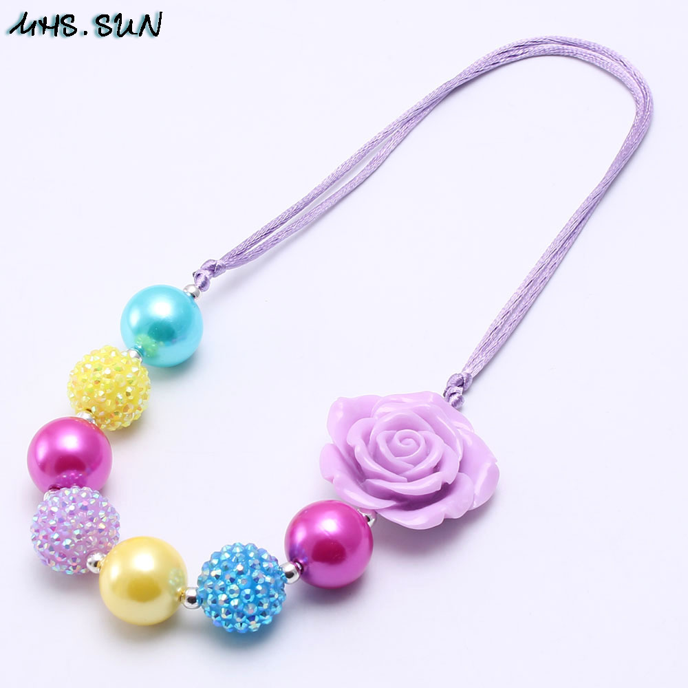 0dd9a7b5b7461 US $2.12 45% OFF|MHS.SUN Handmade Kid Chunky Rose Flower Necklace Fashion  Adjusted Rope Bubblegum Chunky Bead Necklace Girl Children Jewelry-in Chain  ...