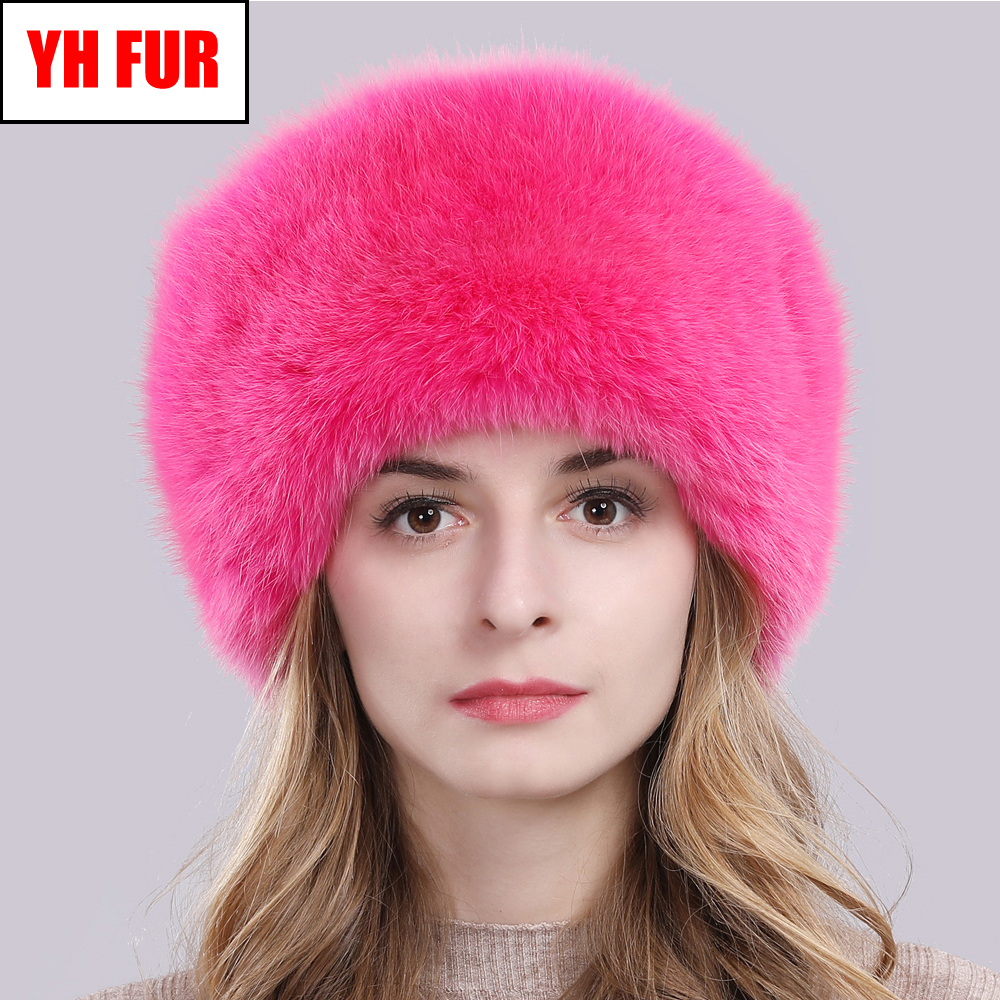Hot Russian Winter Natural Fox Fur Hat Warm Soft Fluffy Real Fox Fur Bomber Hats Luxurious Women Quality Handmade Real Fox Caps