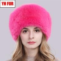 Hot Russian Winter Natural Fox Fur Hat Warm Soft Fluffy Real Fox Fur Bomber Hats Luxurious Women Quality Handmade Real Fox Caps