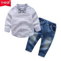 IYEAL Fashion Boys Handsome Gentleman Suits 2018 New Kids Boy Clothes 3 7 Years Striped Shirts + Jeans Children Clothing Sets