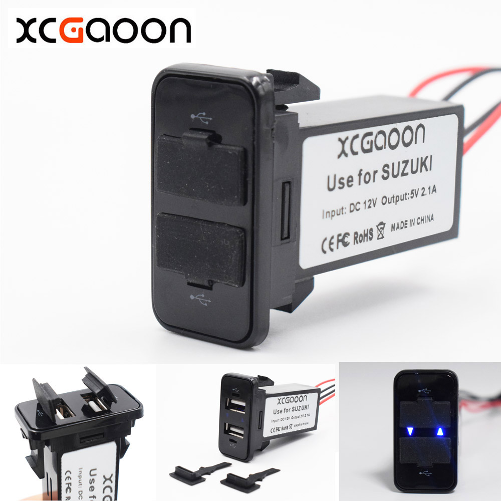 XCGaoon Special 5V 2.1A 2 USB Interface Socket Car Charger for SUZUKI, DC-DC Power Inverter Converter, Can Charge iPhone Mobile