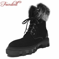 FACNDINLL Women Genuine Leather Winter Snow Boots Med Heel Lace Up Shoes Woman Motorcycle Boots Black