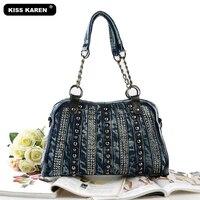 KISS KAREN Classic Fashion Rivet Denim Bag Vintage Women Totes Women S Shoulder Bags Jeans Lady