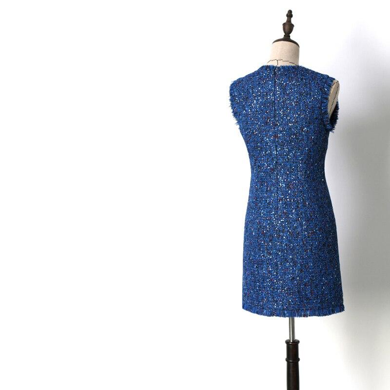 Robe Dames Manches Tweed Femmes Fringe Paillettes Jc2413 Bleu Automne Sans Élégante De Tassel Blue 2018 Soirée Robes Printemps Royal wvf0qa