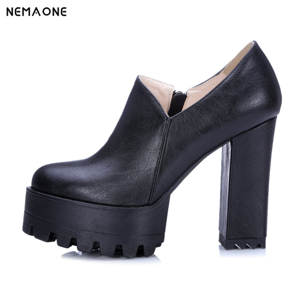 New Spring Autumn Thick High Heeled Pumps Woman Round Toe Female Platform Shoes Casual Office Lady Shoes lace up women shoes pumps new spring autumn round toe female casual high heels casual shoes platform woman size 43