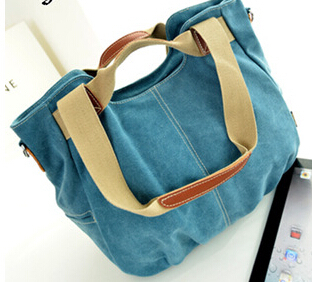 2015 Spring And Summer Canvas Bag With Leather Tide Portable Shoulder Bag Diagonal Multi-Purpose Bucket Cloth Bags
