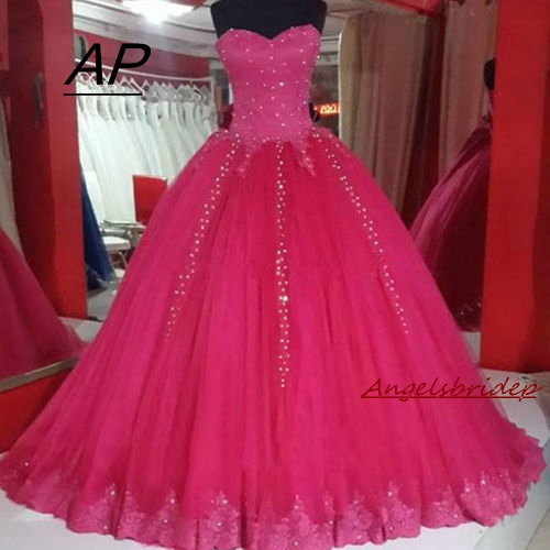 ANGELSBRIDEP Pink Ball Gown Wedding Dress Myriam Fares 2019 Luxury Crystal Tulle Full-Length Vestido De Noiva Formal Bride Gown