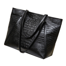 LJL New fashion casual glossy alligator totes large capacity ladies simple shopping handbag PU leather shoulder