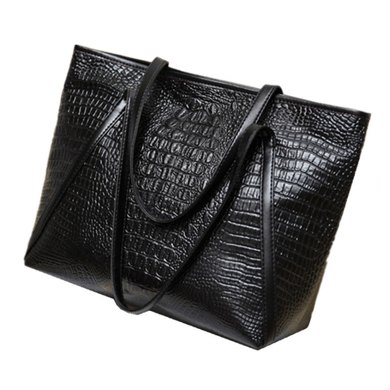 LJL New fashion casual glossy alligator totes large capacity ladies simple shopping handbag PU leather shoulder bags(Black) image