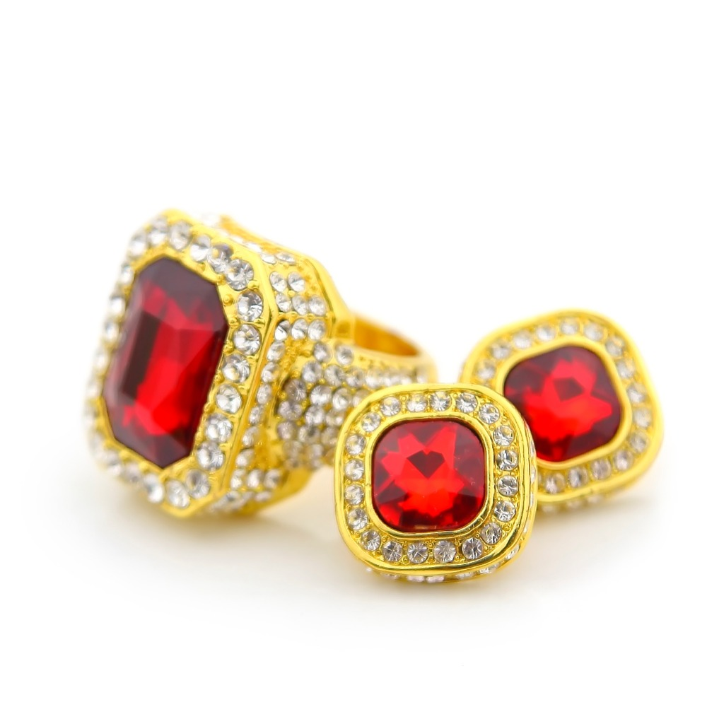 Mens Gold Plated Iced Out Rhinestone Ring And Earing Set Steampunk Unique  Classic Hip Hop Jewelry For Rapper