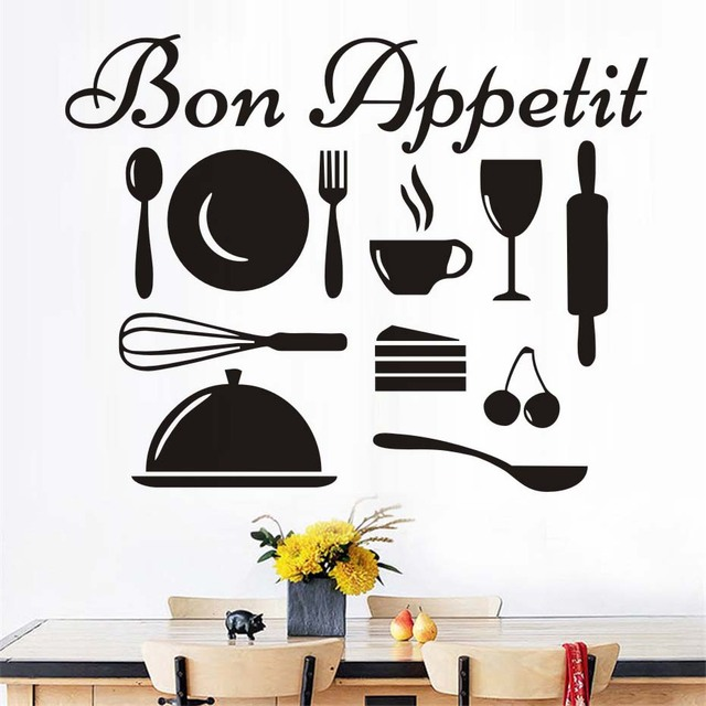 bon appetit fran ais sticker cuisine amovible bricolage home decor vinyle cuisine sticker mural. Black Bedroom Furniture Sets. Home Design Ideas