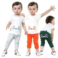 Clearance 2016 summer children's clothing cotton cartoon cat  baby boys&girls baby clothes kids suit T-shirt+shorts 2pcs set