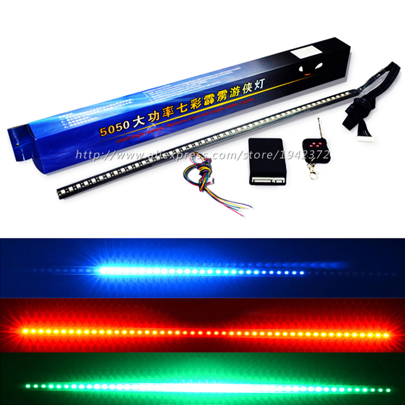 56CM 7 colores RGB 147 Modos Estroboscópico Tira de control remoto inalámbrico Super brillante 12V 5050 48 LED Knight Rider Luz de advertencia